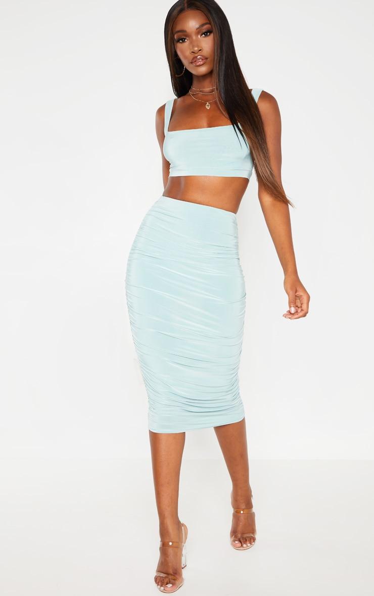 Mint Slinky Second Skin Ruched Midi Skirt 1