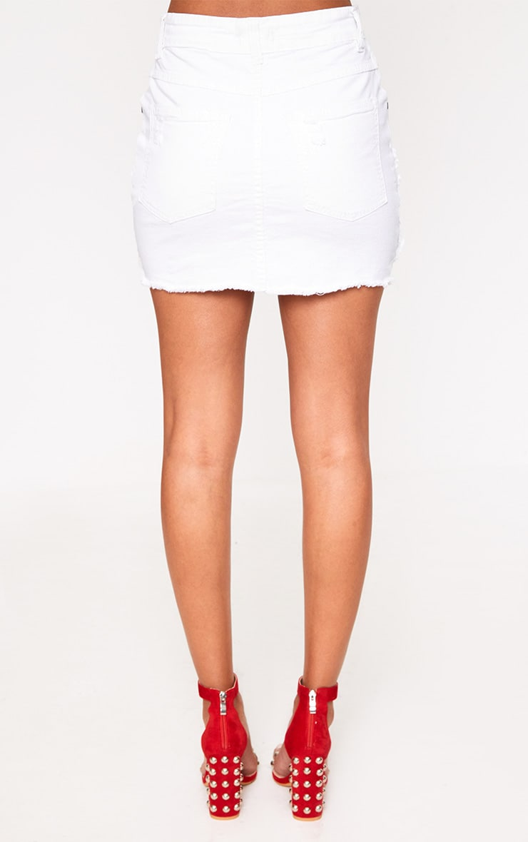 White Super Shred Denim Mini Skirt 4