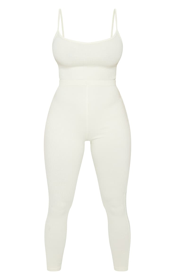 Shape Cream Thick Rib Strappy Cut Out Back Jumpsuit 5