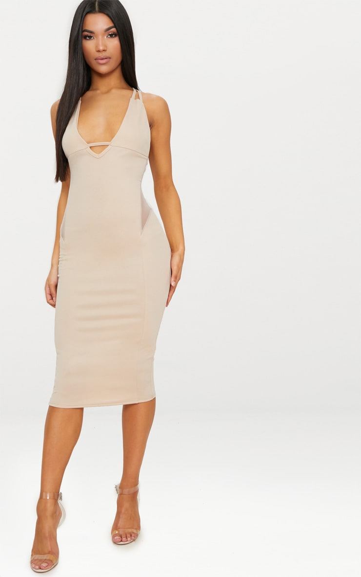 Nude Strappy Mesh Panel Midi Dress 4