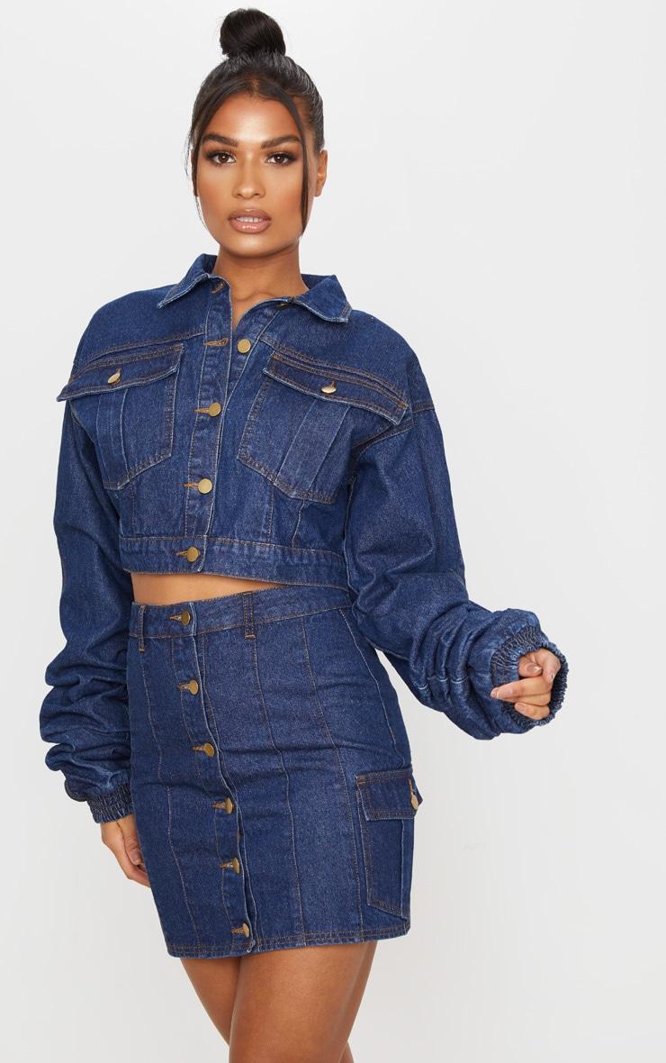 Mini-jupe en jean bleu moyennement délavé 5