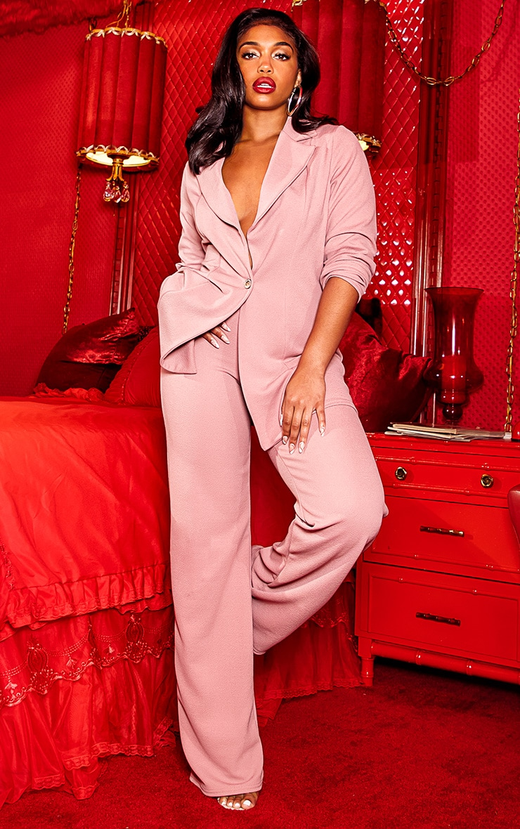 Pink Wide Leg Suit Pants 1