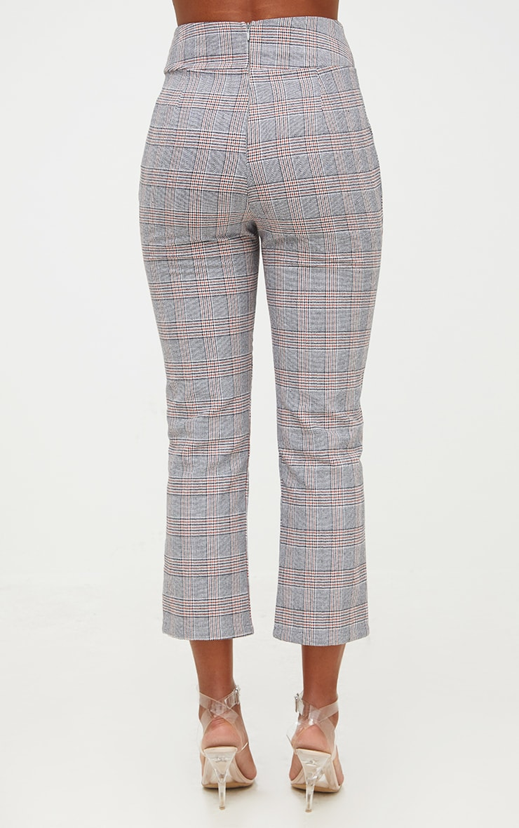 Grey Check Corset Waist Trousers 4