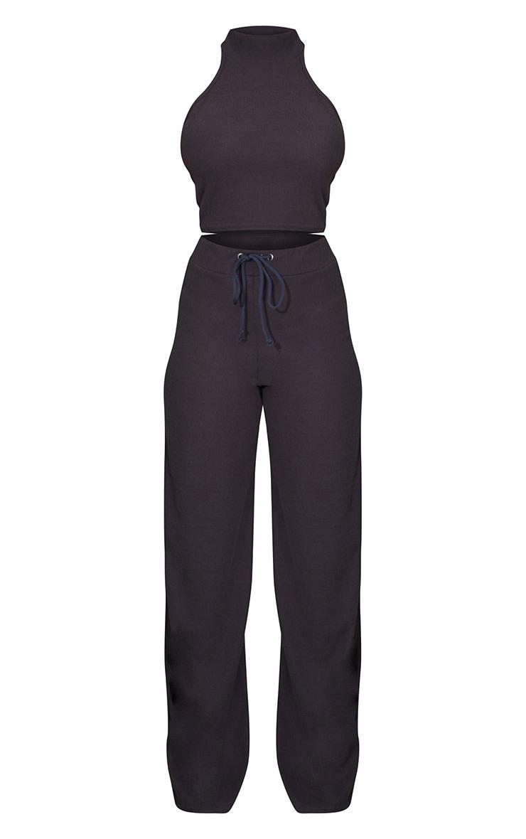 Charcoal Grey Soft Brushed Rib High Neck Sleeveless Crop Top & Wide Leg Trouser Set 5