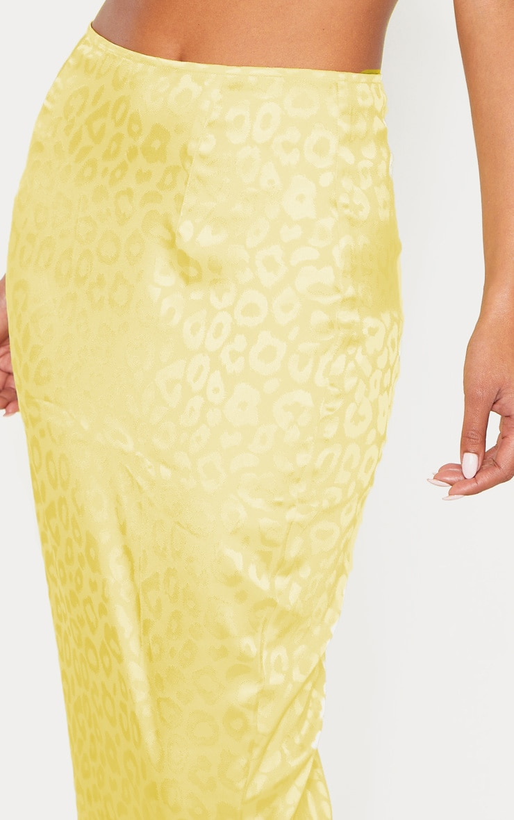 Yellow Satin Jacquard Leopard Print Maxi Skirt 5