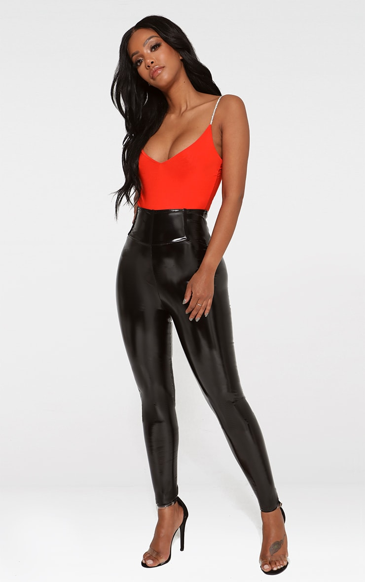 Shape Orange Diamante Strap Slinky Bodysuit 3