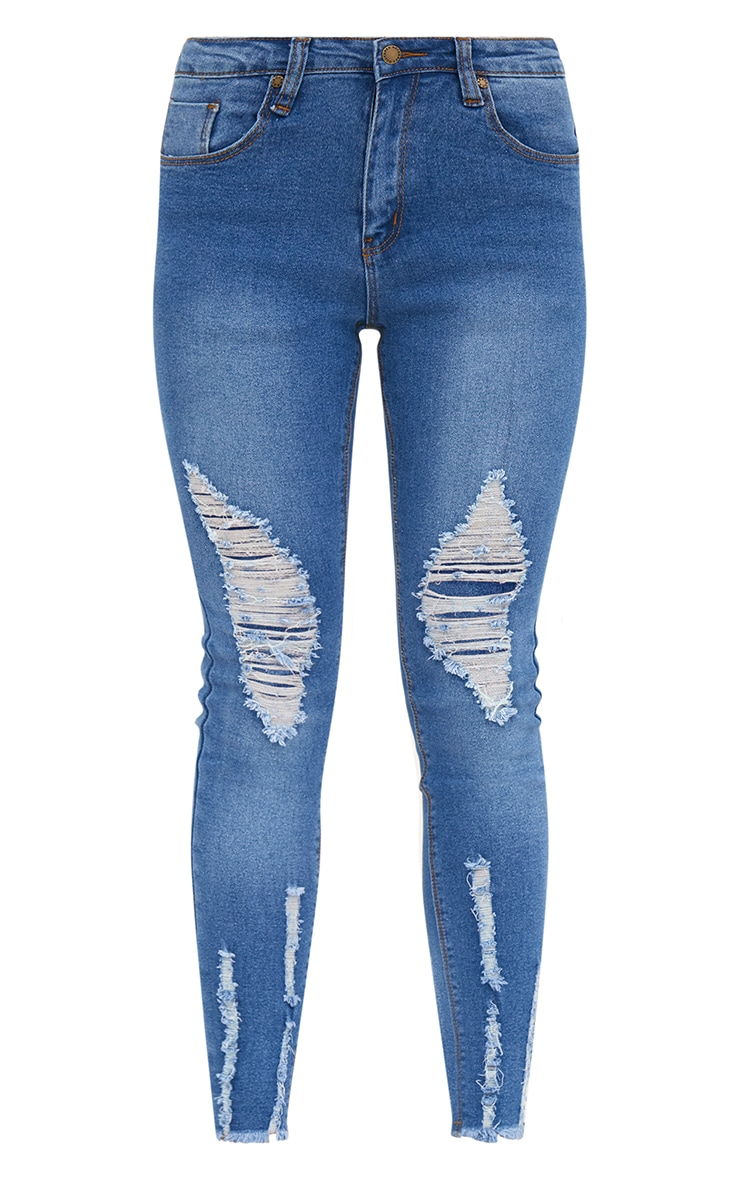 Petite Mid Blue Wash Ripped Skinny Jeans 3