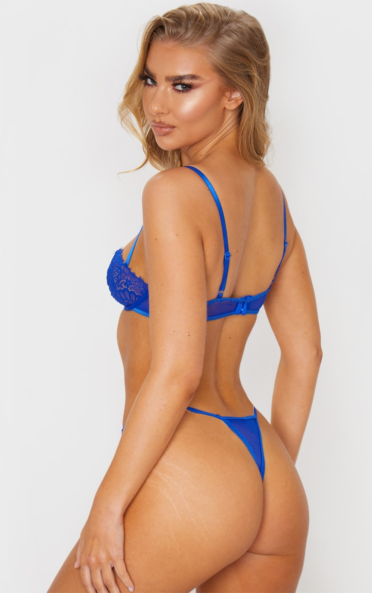 Cobalt Ring Detail Lace Underwired Balcony Bra 2