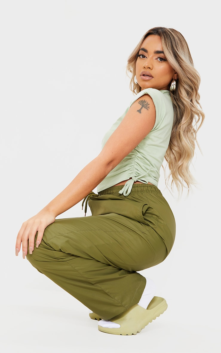 Petite Sage Green Cotton Ruched Side T-Shirt 3