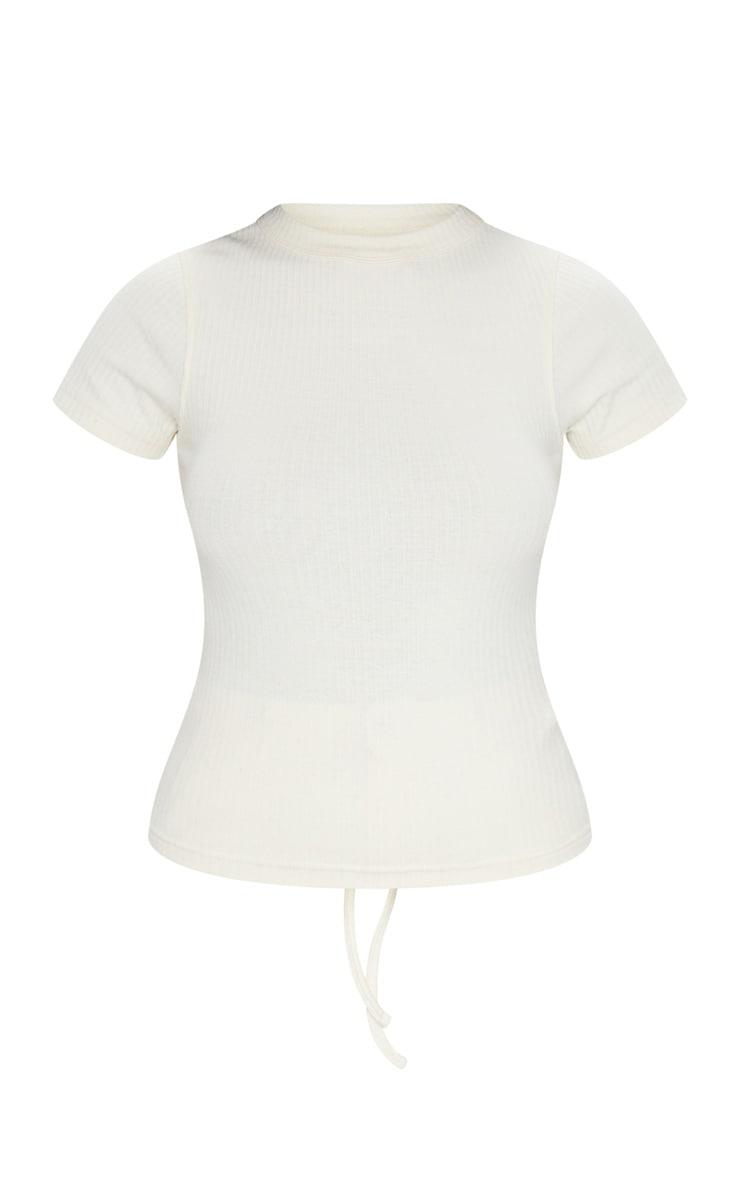 Tee-shirt côtelé crème à laçage au dos 5