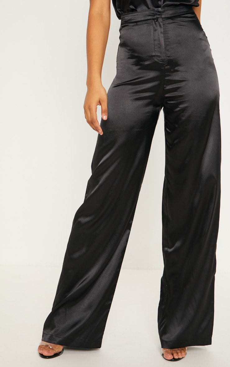 Tall Black Satin Wide Leg Trouser 2