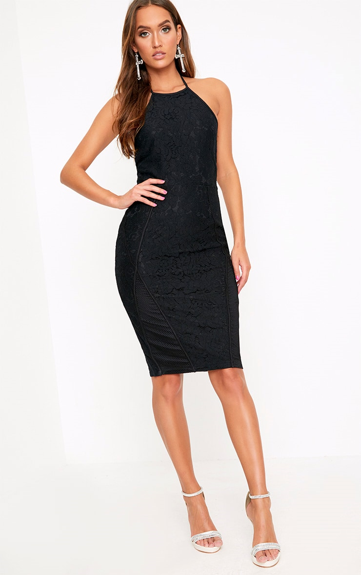 Black Lace Fishnet Panel Halterneck Midi Dress  4