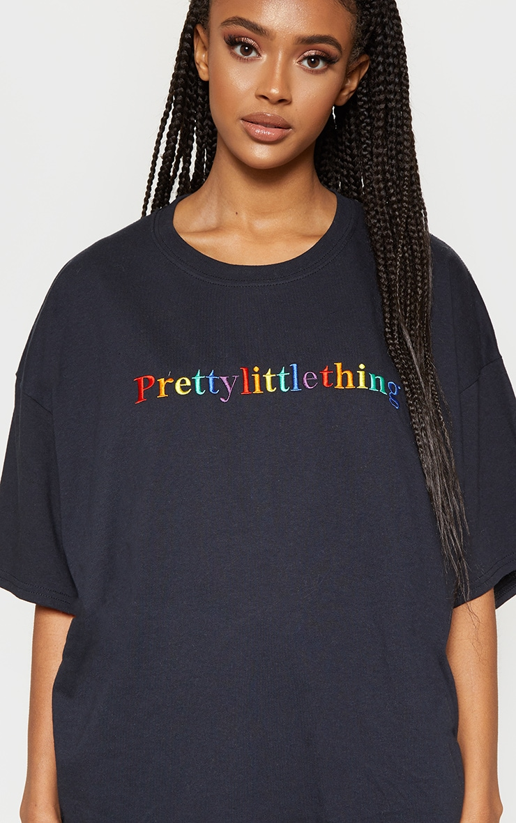 PRETTYLITTLETHING Multi Embroidered Black Oversized T Shirt 5