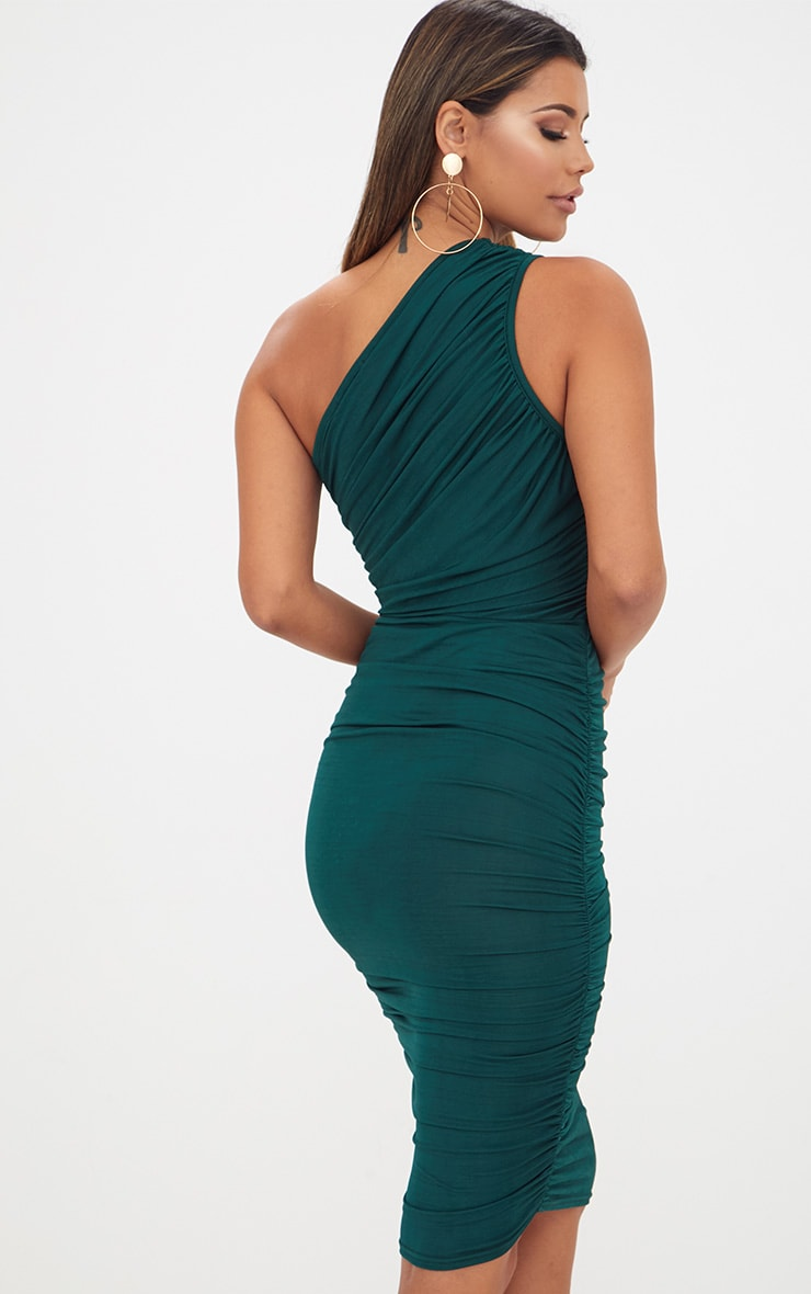 Emerald Green Slinky Ruched One Shoulder Longline Midi Dress 2
