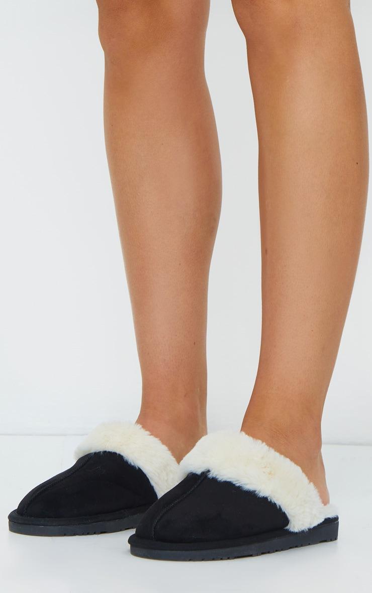 Black Faux Sheepskin Mule Slippers 1
