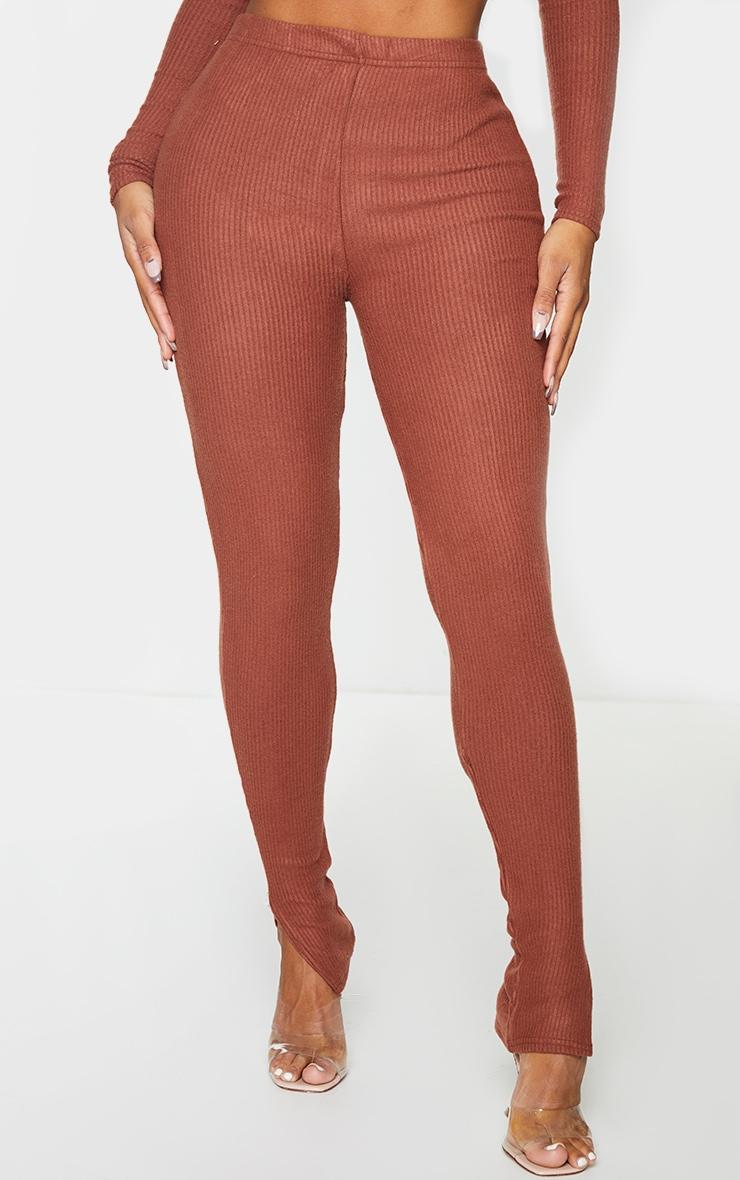 Shape Chocolate Brown Brushed Rib Split Hem Leggings 2