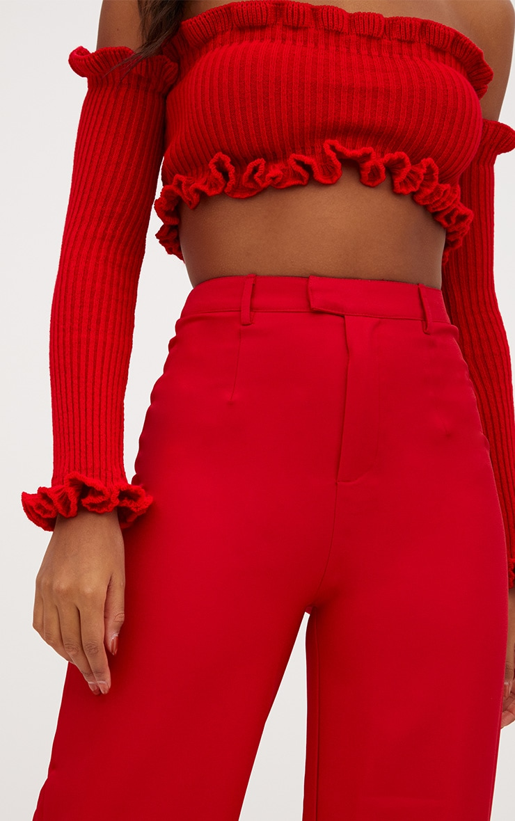 Red Wide Leg Crepe Pants 5