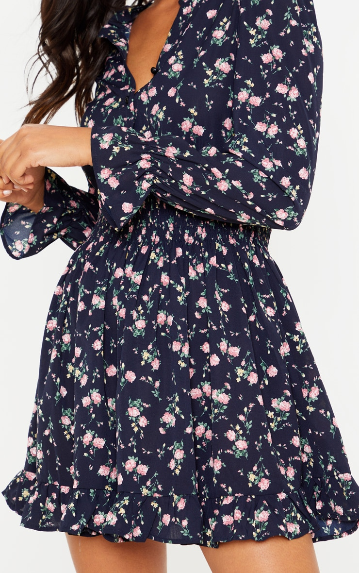 Navy Ditsy Floral Shirred Waist Shirt Dress 5