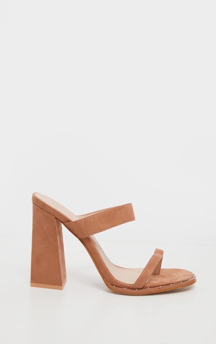 Nude Toe Loop Mule Block Heel Stud Detail Sandal 4