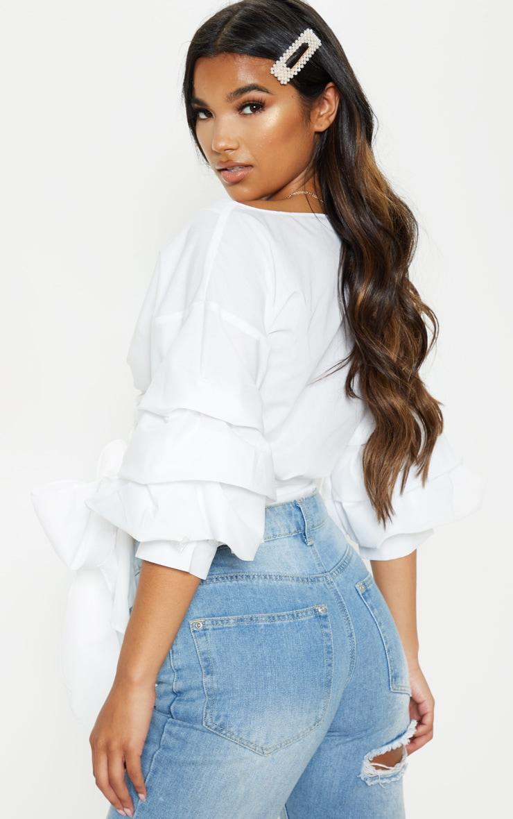 Marlow White Oversized Ruffle Sleeve Low Shoulder Shirt 2