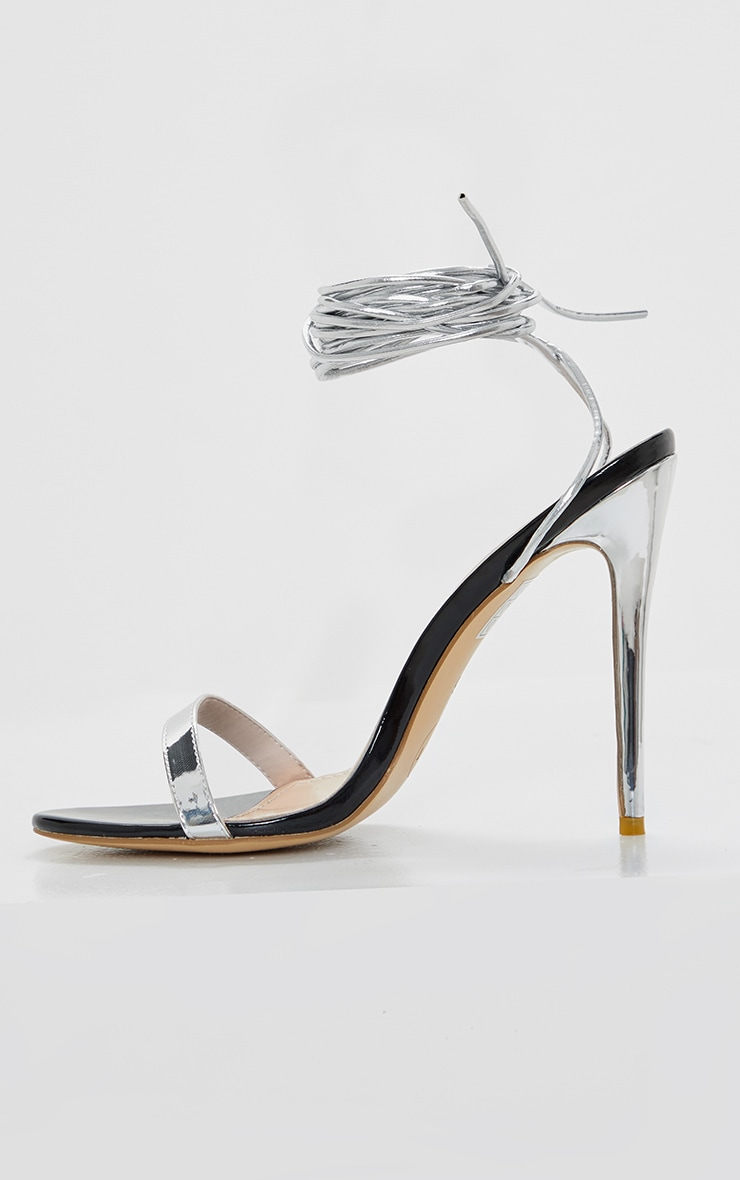 Silver Metallic Thin Strappy Lace Up Sandal 4
