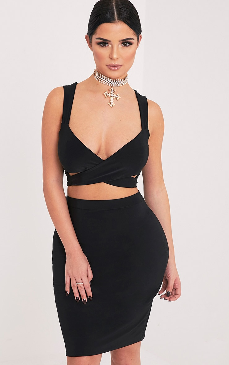 Shape Sareena Black Wrap Back Crop Top 1