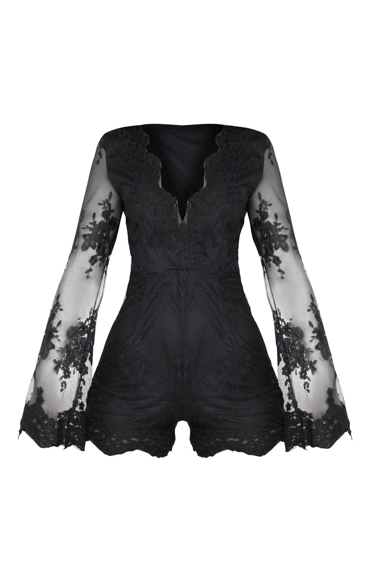 Bella Black Lace Bell Sleeve Playsuit 3