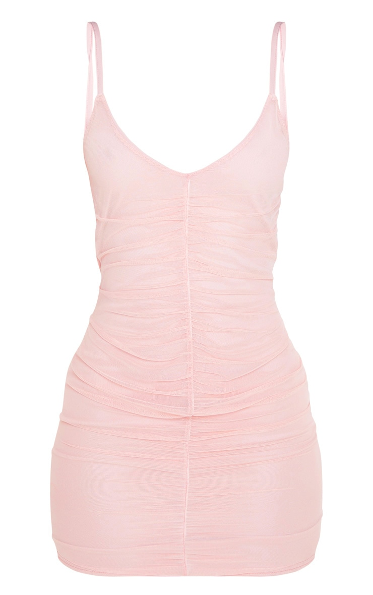 Pink Strappy Mesh Ruched Front Bodycon Dress 3