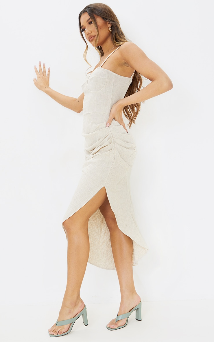 Stone Linen Strappy Gathered Skirt Detail Midaxi Dress 3