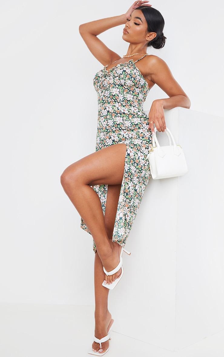 Multi Floral Print Strappy Split Detail Midi Dress 1