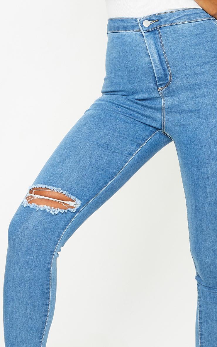 PRETTYLITTLETHING Light Blue Wash Raw Hem Knee Rip Disco Skinny Jeans 4