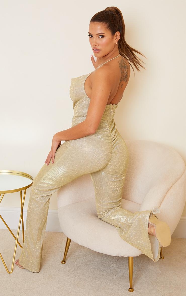 Shape Gold Glitter Diamante Trim Wide Leg Jumpsuit 2