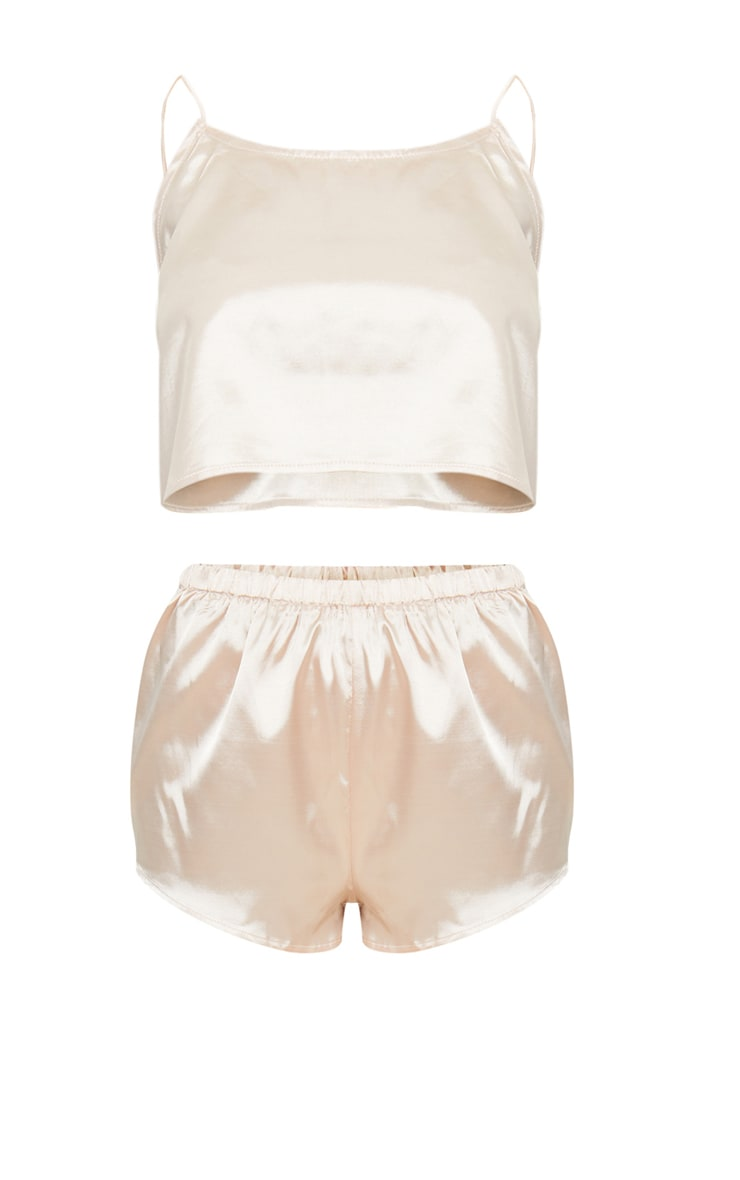 Champagne Satin Pyjama Shorts Set 3