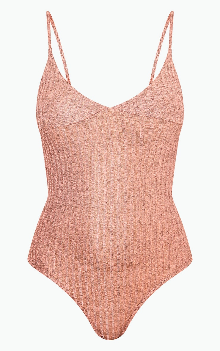 Madellyn Rose Gold Textured Glitter Strappy Thong Bodysuit 3