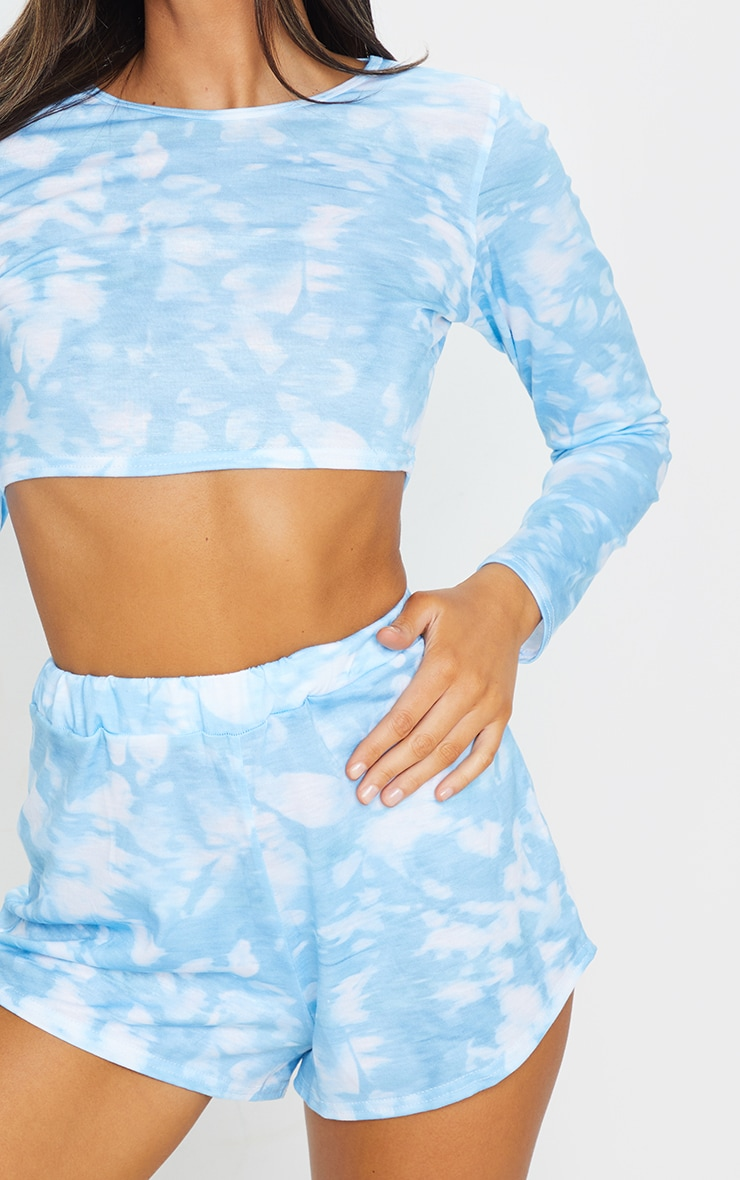 Baby Blue Tie Dye Long Sleeve PJ Set 4