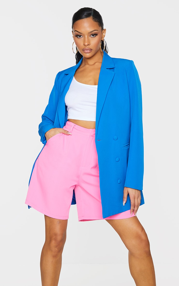 Bright Blue Double Breasted Covered Button Blazer 3