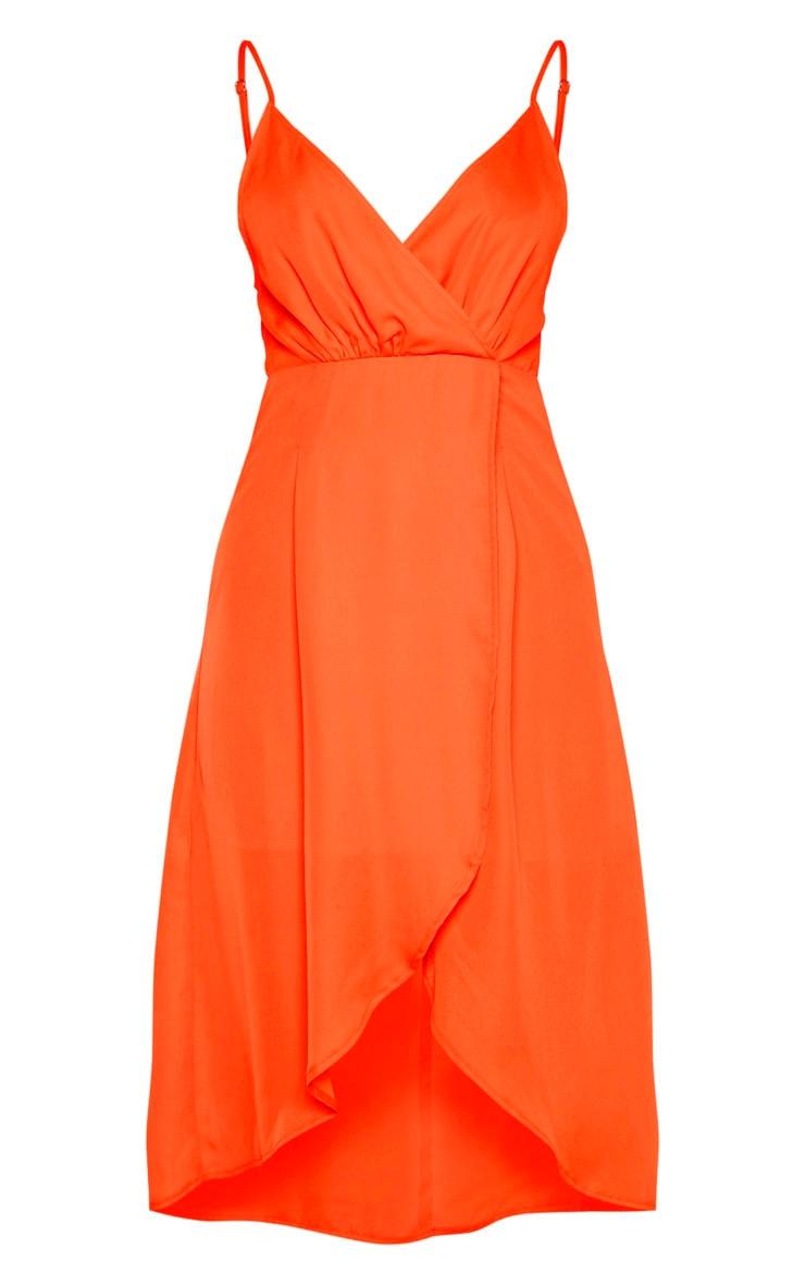 Bright Orange Chiffon Wrap Midi Dress 3