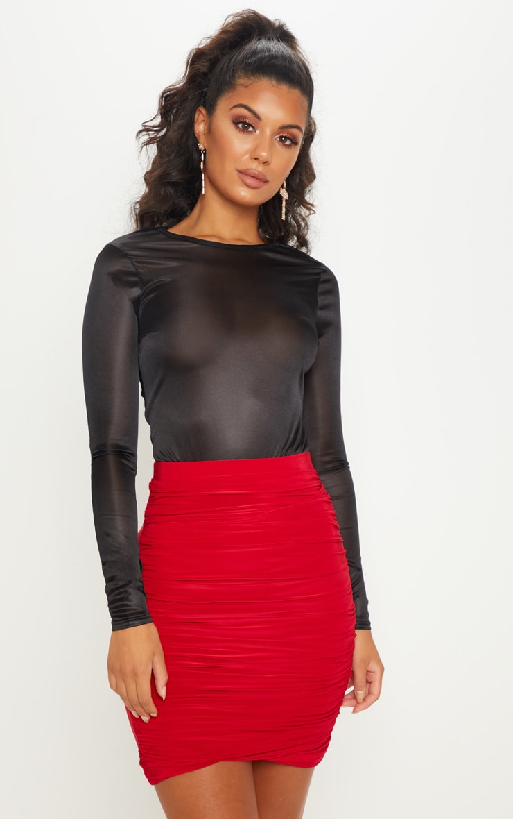 Red Ruched Layered Slinky Mini Skirt