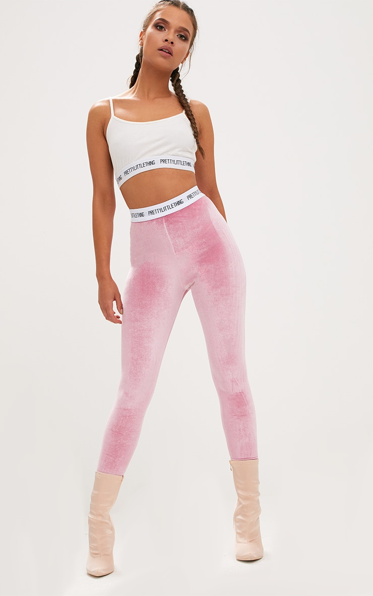 PRETTYLITTLETHING Light Pink Velvet Leggings 1