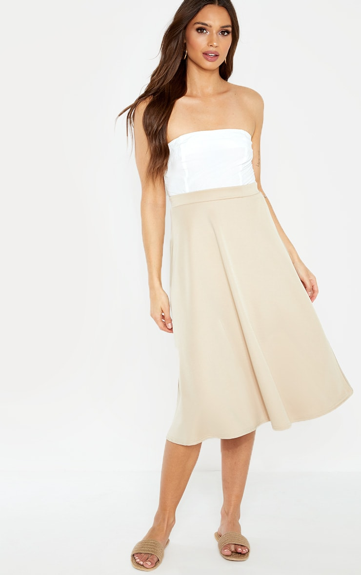 Stone Scuba Flippy A Line Midi Skirt  1