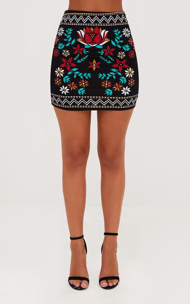 Black Border Embroidery Print Mini Skirt 2