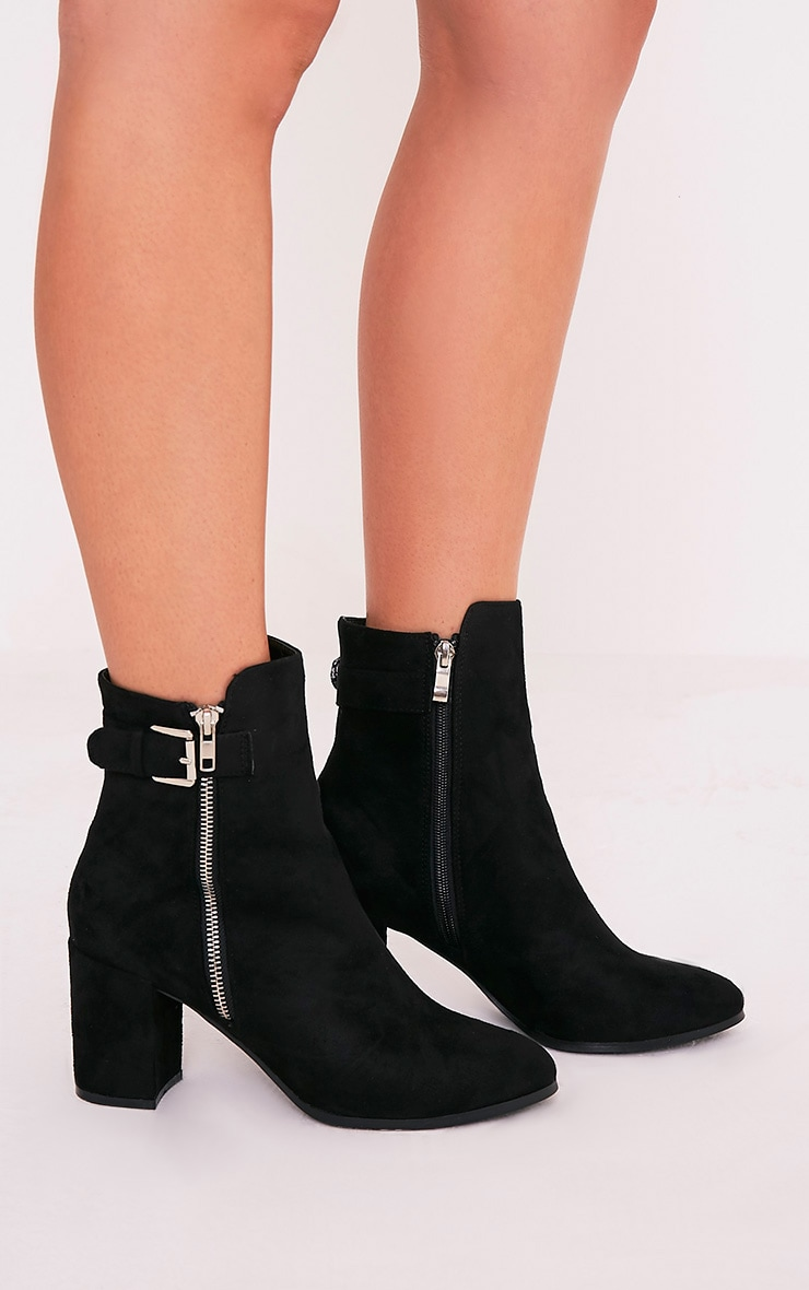 Karina Black Faux Suede Buckle Ankle Boots 2