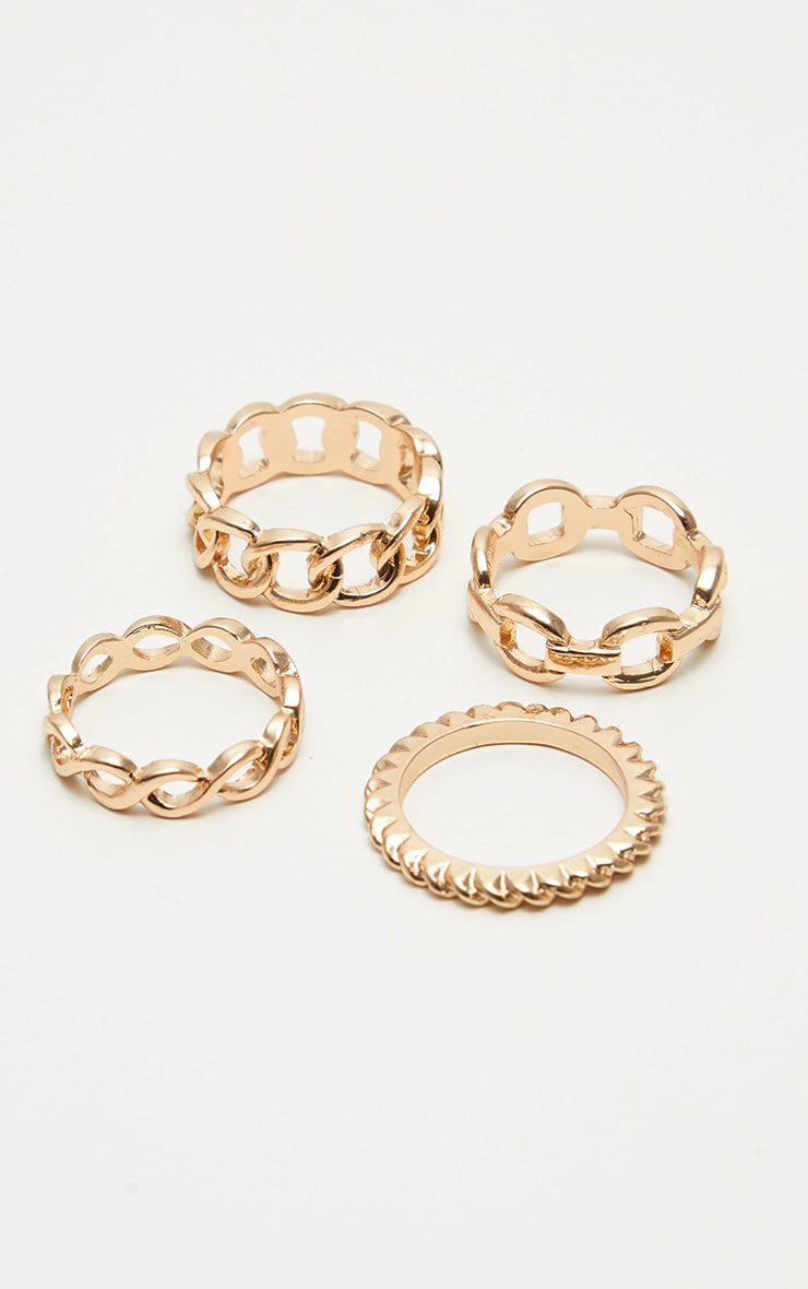 Gold Chain Link Multi Ring Set 1