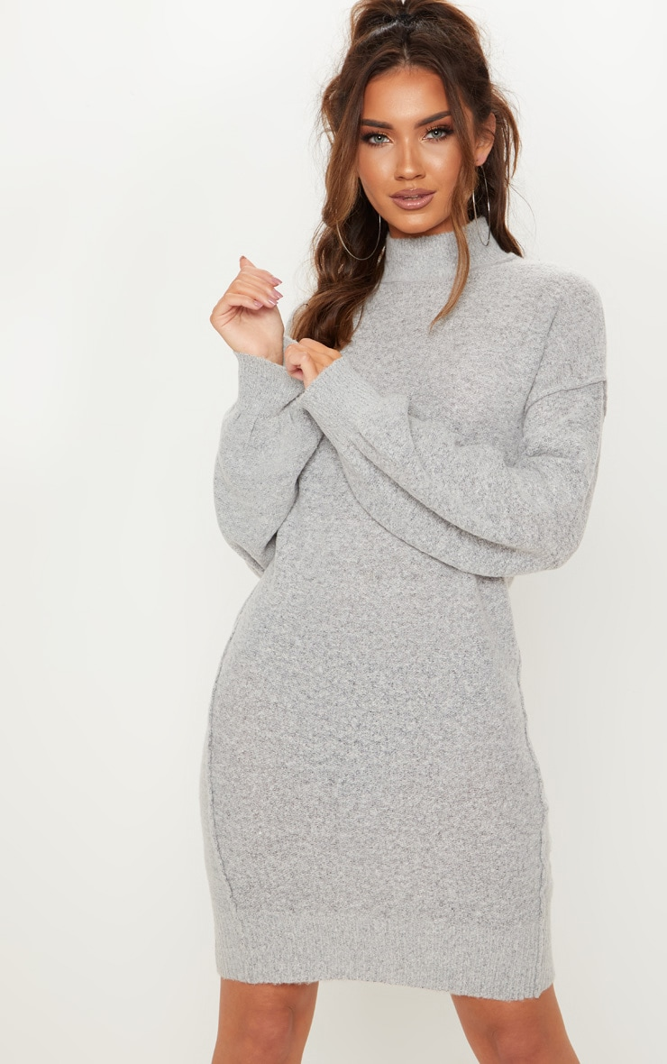 Grey High Neck Balloon Sleeve Knitted Dress