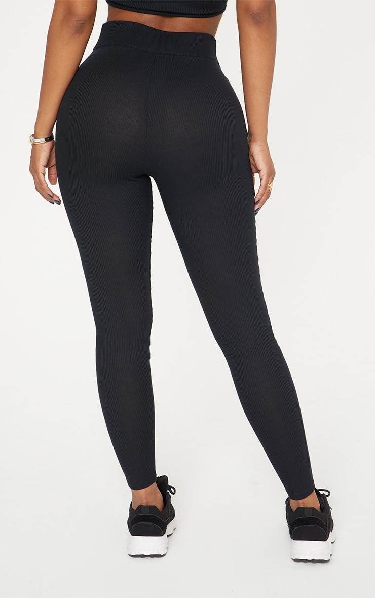 Shape Black Ribbed Leggings 4