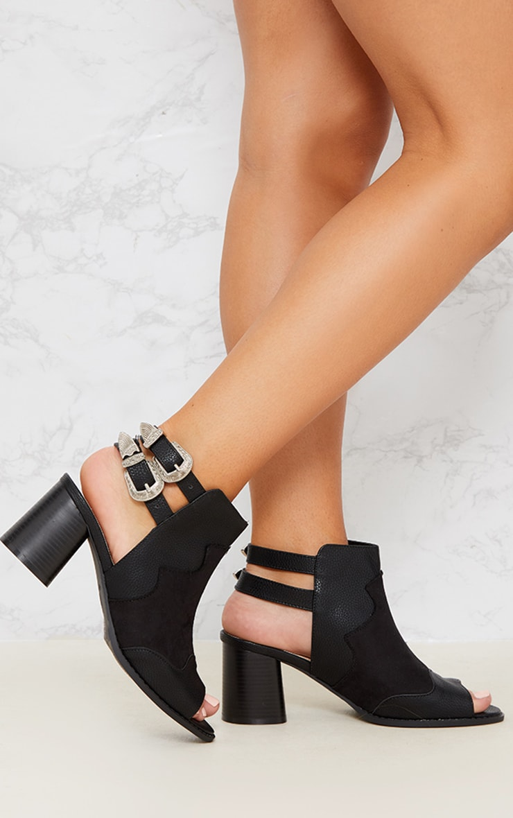 Black Western Buckle Cut Out Block Heel Ankle Boot 2