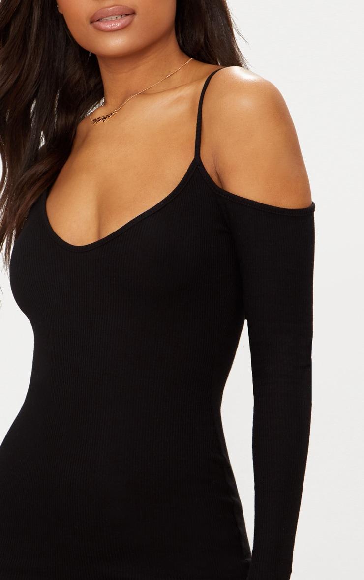 Black Rib One Shoulder Bodycon Dress 5