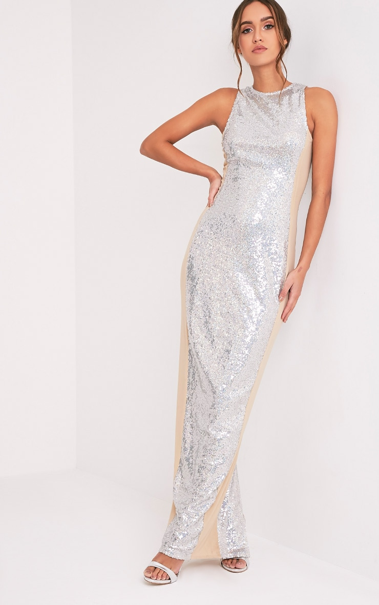 Carsie Silver Sleeveless Sequin Maxi Dress 4