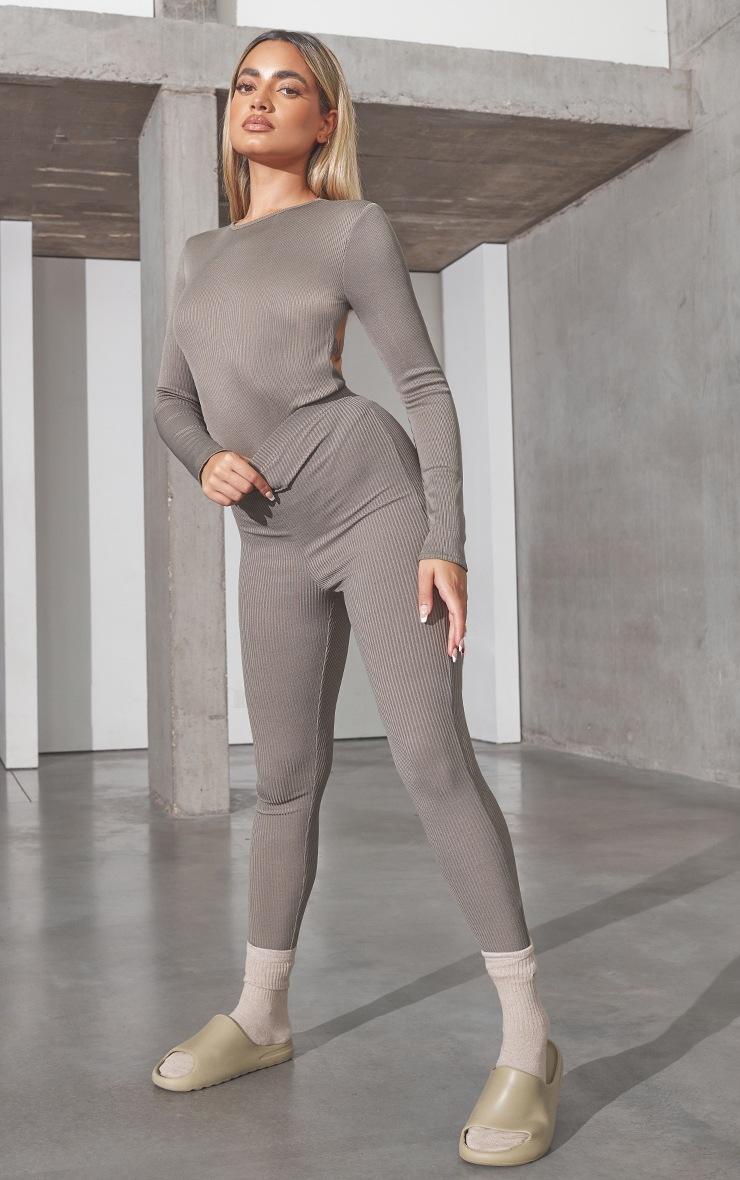 RENEW Petite Light Khaki RibBackless Bodysuit 3