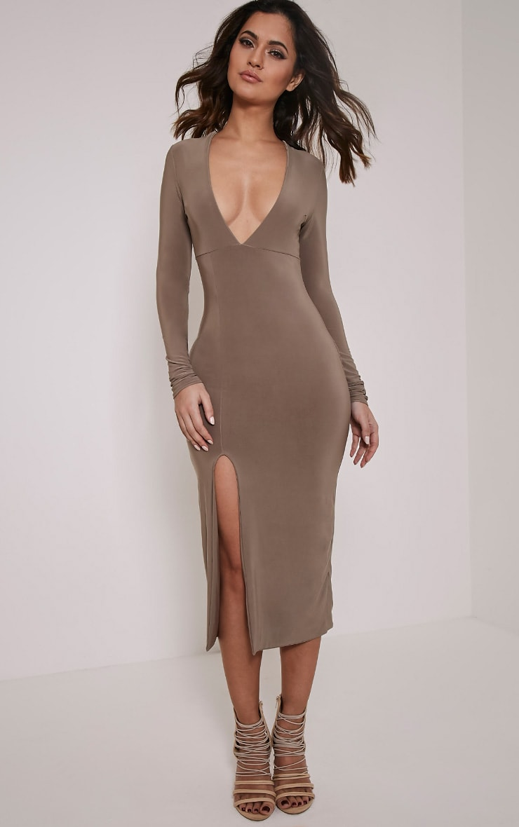 Christa Mocha Slinky Plunge Split Front Midi Dress 4